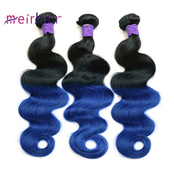 Ombre Color T1Bblue Human Hair Weaves-CH04