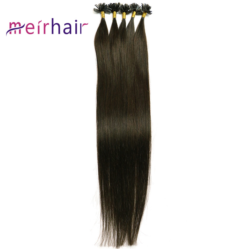 U-tip Human Hair Extensions Brown Color Straight Wave-CL03
