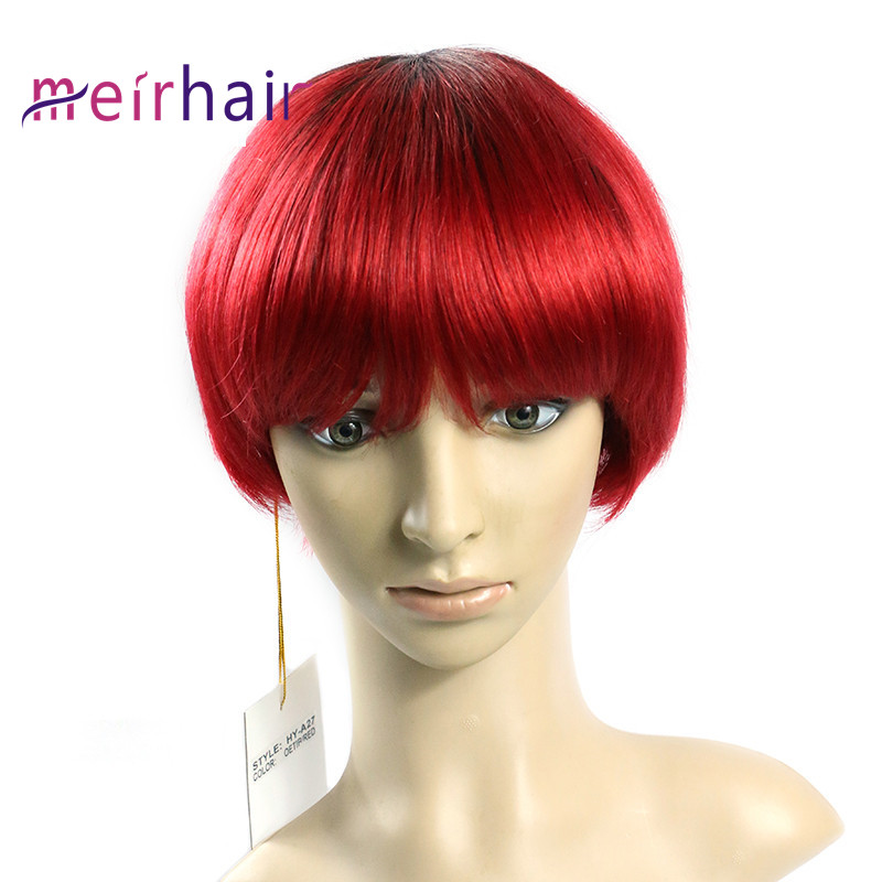 Human Hair Short Wig Machine Made Red Color