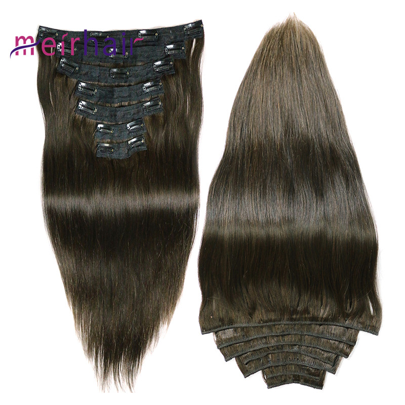 Long Cambodian human hair extensions natural black color clip-in