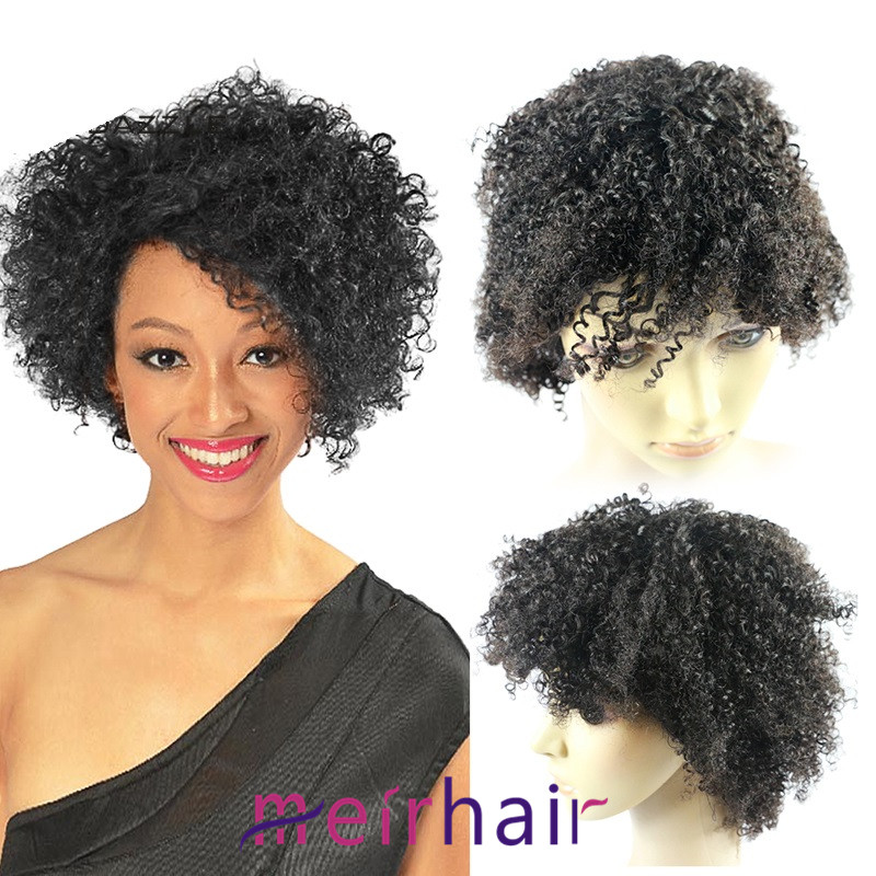 Beauty Remy Kinky Curly Wigs Machine Made Human Hair Wigs for fashion Women