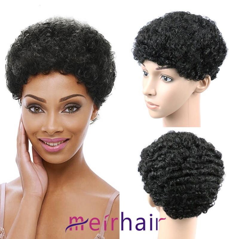 130 Density Short Wigs Afro Kinky Curly Brazilian Human Hair Bob Wigs